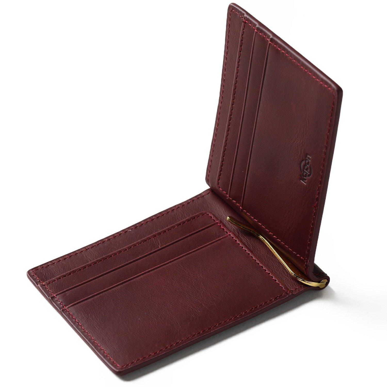 Kapon マネークリップ メンズ 本革 オイルレザー クリップ2本(ゴールド?シルバー)付属 ギフトボックス 付き クリップ1年保証 二つ折り 財布 札ばさみ 薄い 軽い