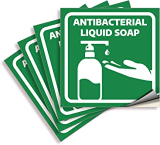 Liquid Soap Signs Stickers – 4 Pack 6x6 Inch – Premium Self-Adhesive Vinyl, Labels, Laminated for Ultimate UV, Weather, Sc...