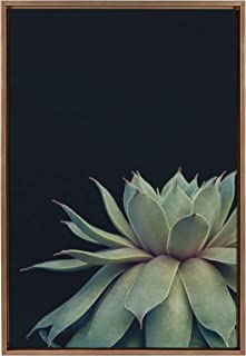Kate and Laurel Sylvie Succulent Plant Framed Canvas Wall Art, Botanical Green with Black Background, 23x33 Gold