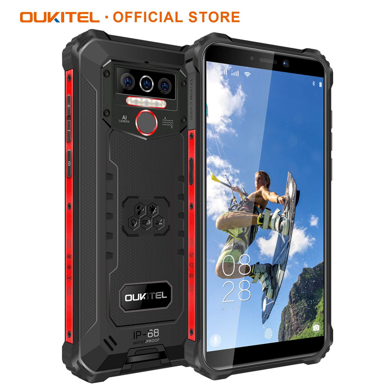 OUKITEL WP5 IP68 Waterproof/Dustproof/Shockproof 8000mAh Smartphone 5.5-inch Android 9.0 Mobile Phone 4GBRAM+32GBROM SONY13MP+5MP Dual AI Camera Face or Fingerprint Unlock One Year Warranty (Black)