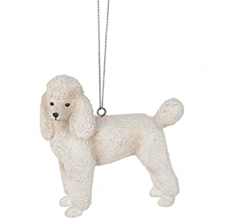 Standard Poodle White 3 x 3 Inch Resin Christmas Ornament Figurine