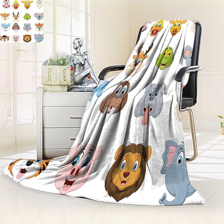 YOYIHOME Warm Microfiber All Season Duplex Printed Blanket Cartoon Comic Design of of Smiling Faces Visages Koala Fox Pi Caricature Multi Print Artwork Image  W59 x H47