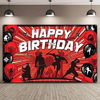 Ninja Birthday Party Backdrop Decorations Warrior Birthday Banner Ninja Themed Party Supplies Ninja Warrior Birthday Party...