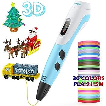 AGPTEK Pluma de Impresión 3D para Niños, Lapiz 3D Compatible ABS, PLA con Filamentos de 30 Color (91.44M), Dibujo de la Plantilla, Regalo de Cumpleaños para Niños, Adultos: Amazon.es: Electrónica