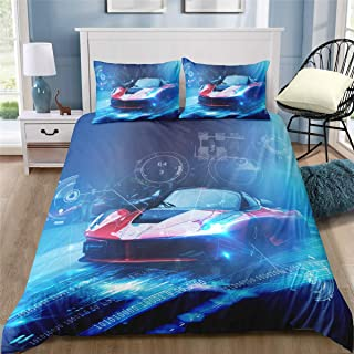 Helehome Red Race Duvet Cover Bedding Sets Teen Boys Sport Car with Zipper Closure for Kids 3 Piece Brushed Microfiber Fabric Print, Full Size