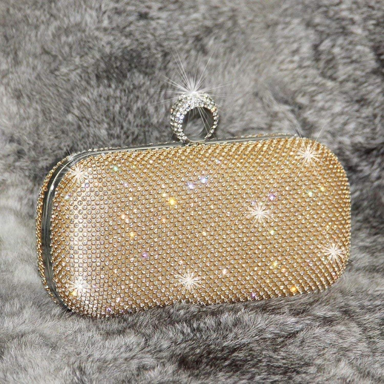 Ladies Handbag Dinner Bag - gold Diamond Evening Bag - with Diamond Bag - Ladies Rhinestone Party Bag - Clutch - Female Diagonal Bag (color   golden, Size   Small)