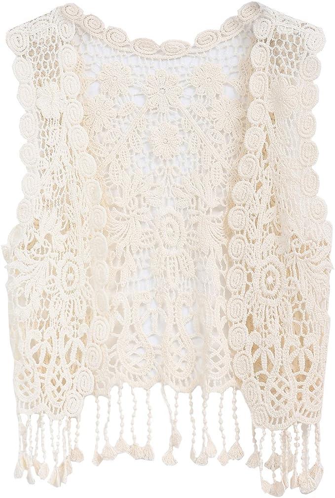 60s 70s Kids Costumes & Clothing Girls & Boys ZHUANNIAN Little Girls Crochet Vest with Fringe  AT vintagedancer.com