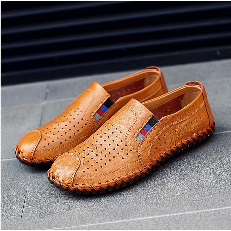 JJXD Groe Leder Herren Erbsen Schuhe 2019 neuen Frühling und Sommer lssig Trend niedrig, um atmungsaktive Sandalen Schuhe zu helfen
