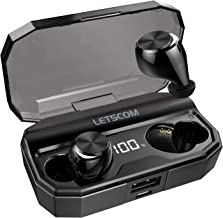 Letscom Wireless Earbuds, Bluetooth 5.0 Headphones IPX6 Sweat Proof, 80 Hours Playtime with Wireless Charging Case, HD Stereo Built-in Mic in-Ear Sports Earphones for Running Gym Workout