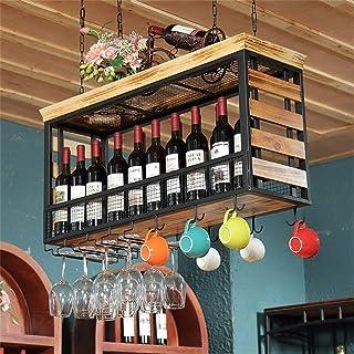 ZHTY Supports à Verres en Bois, Support de Bouteille de vin Suspendu monté au Plafond unité de Rangement de gobelet en mét...