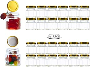 Adabocute 1.5 oz Hexagon Mini Glass Canning Jars (24-pack) with Gold Lid for Wedding Favors, Baby Shower, Honey, Jams, Spice