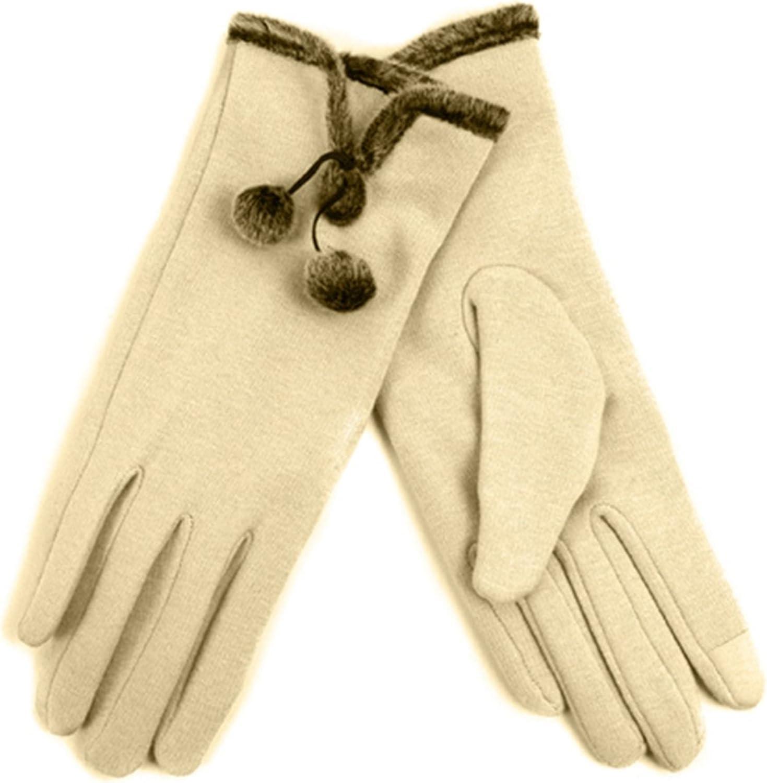 Women's Beige Stylish Touch Screen Gloves with Fur Trim & Fleece Lining - S/M