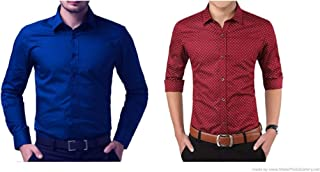 ZAKOD Combo of Plain and Polka Print Cotton Shirts for Men for Formal Use, Shirts,100% Pure Cotton Shirts,Available Sizes M=38,L=40,XL=42(Combo of 2)