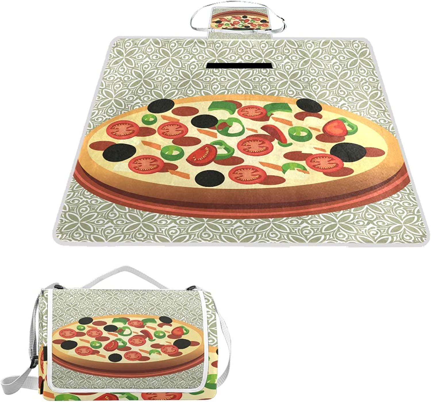 MASSIKOA Pizza Picnic Blanket Waterproof Outdoor Blanket Foldable Picnic Handy Mat Tote for Beach Camping Hiking