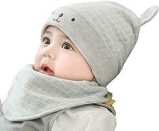 Unisex Newborn Baby Cotton Beanie Hat and Bib Set 0-18months