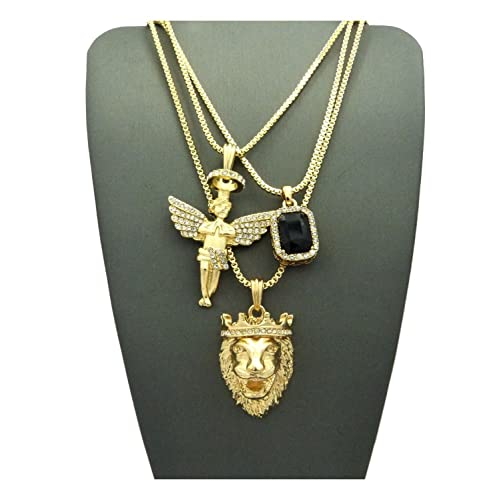 Shiny Jewelers USA Mens Hip HOP ICED Out Angel Lion RED Ruby Onyx Blue  Green Pendant d07b27373d