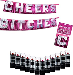 IntiMD 12 Mushroom Lipsticks + Cheers Bitches Banner Bachelorette Party Decoration, DuraColor Infused Lipstick Women Set