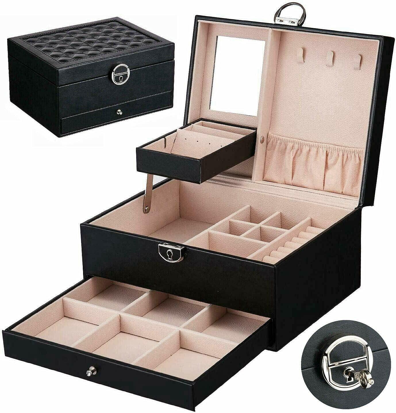 2 Layer New York Mall PU Leather Jewelry Box Display Max 82% OFF Storage Organizer Mi with