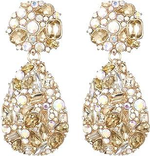 Rhinestone Crystals Teardrop Dangle Earrings Chandelier Drop Earrings for Women KELMALL COLLECTION
