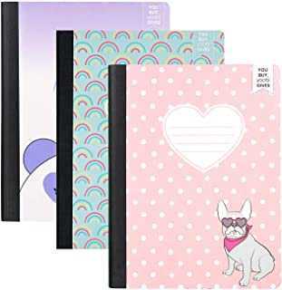 Yoobi   Composition Book   Pack of 3 Fun Prints in Frenchie Pup, Pandacorn & Rainbow   Sewn Binding   100 College Ruled Sh...
