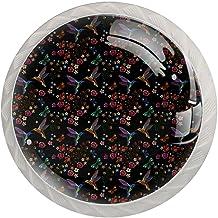 Lade handgrepen trekken ronde kristallen glazen kast knoppen keuken kast handvat,borduurwerk stijl kolibrie vlinder bloem