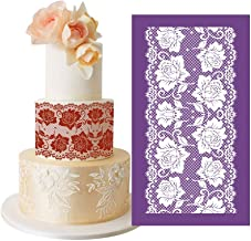 AK ART Kitchenware Alencon Rose Flower Lace Mesh Cake Stencils Royal Icing Cookie Decorating Template Fondant Decoration Edible Art Bakery Tools Purple 13.4×7.5in MST-53