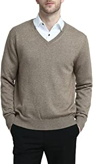 Kallspin Men's Cashmere Wool Blended Jumper Knitwear Relaxed Fit V Neck Long Sleeve Knitted Pullover Sweater