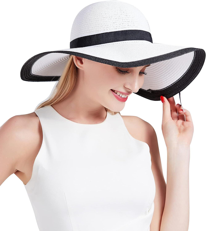 Womens Sun Hat Ladies Straw Hat for Outdoor Wide Brim Wedding Church Dress Sun Hat UPF 50+