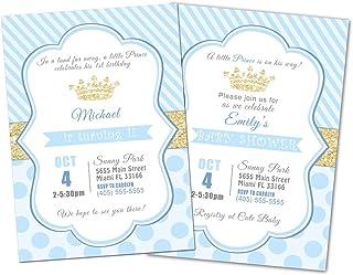 30 invitaciones personalizadas cumpleaños, baby shower principe azul dorado papel foto