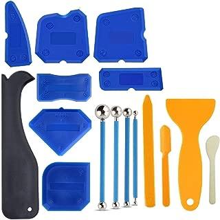 Anndason 16 PCS Caulking Tool Kit Caulk Caps Sealant Finishing Tool Silicone Caulk Removal Tool For Bathroom Kitchen And The Rest Of The Household