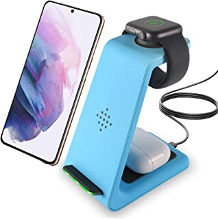 elec Space Wireless Charging Dock,3 in 1 Fast Wireless Charger Charging Station Stand Compatible with Apple Watch SE 6/5/...