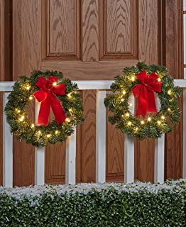 The Lakeside Collection Set of 2 Remote-Controlled Outdoor Wreath