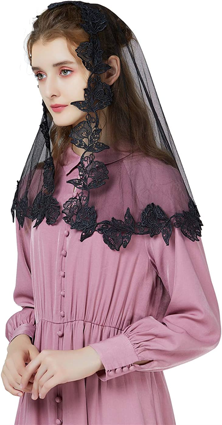Latin Mass Lace Veil Catholic Chapel Mantilla Church Cathedral Communion Head Covering With Scalloped Floral Edge Easter