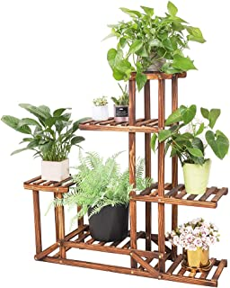 Wood Flower Stand 6 Tiered Plant Stand Flower Rack Wood Plant Ladder Shelf Bonsai Display Shelf Multifunctional Storage Or...