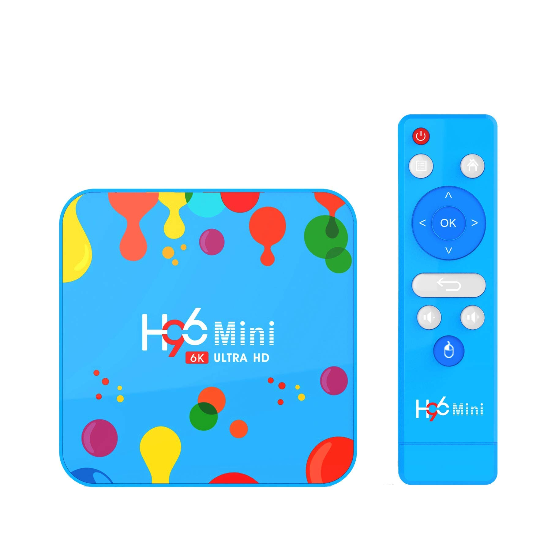 DroiX H96 Mini Android 9 Pie Smart TV Box; Procesador Allwinner H6 Salida de Video de 6K, 4GB de RAM, 128GB de ROM, Wi-Fi de Doble Banda, BT. Android Box Mini PC: