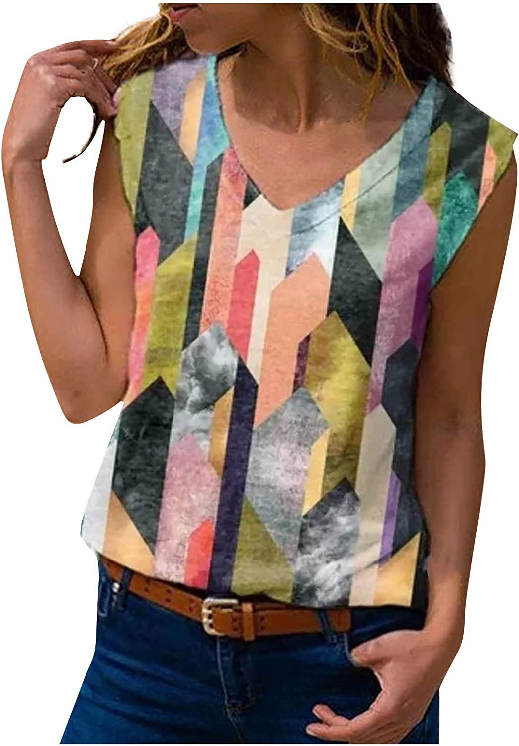 Women's Summer V Neck Sleeveless Cami Tank Tops Floral Graphic Print Tie Dye Vests Blouse for Women Trendy