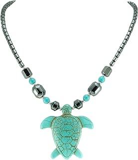BlueRica Turquoise Sea Turtle Pendant on Hematite Beads, Turquoise, Size No Size