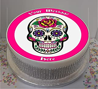 SUGAR SKULL EDIBLE IMAGE CAKE TOPPER 7 INCH PERSONALISED PRE-CUT ICING SHEET