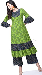 Zoeyams Womens Multicolored Cotton Printed Long Anarkali Kurta With Cotton Palazzo
