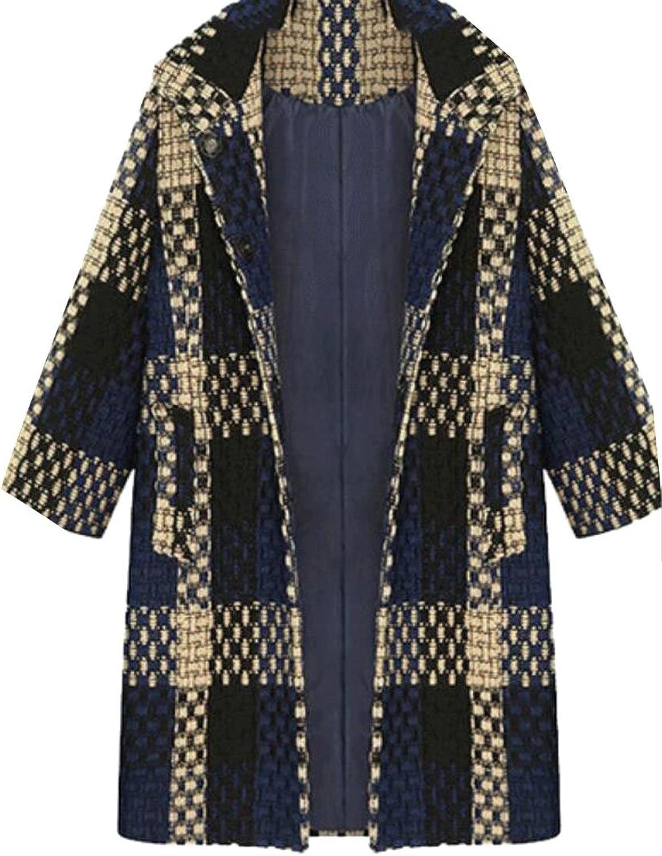 GAGA Women's Slim Fit Plaid Open Front Wool Jackets Overcoat