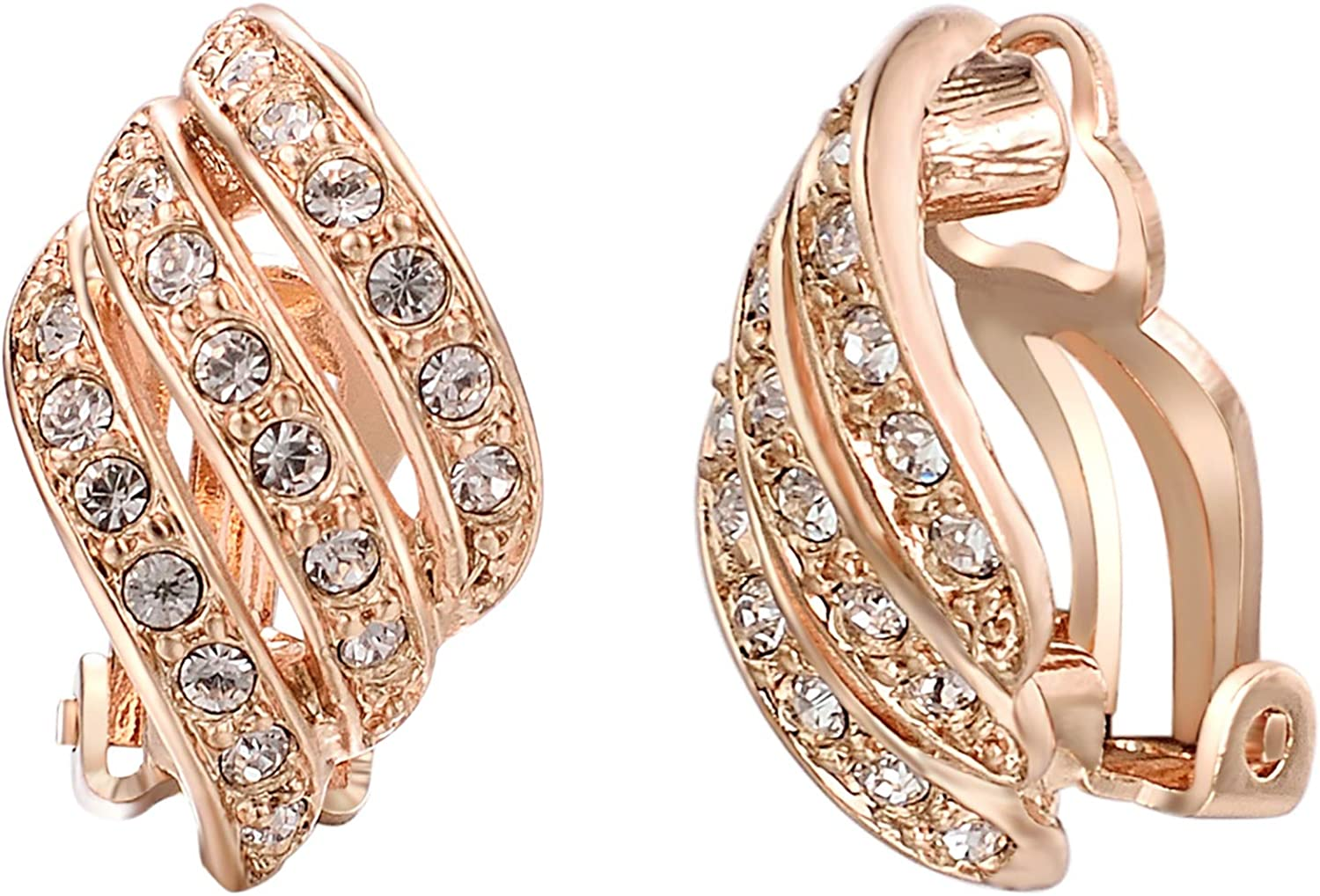 Yoursfs Cz Crystal Clip on Earrings for Women 18K Gold Plated Vintage Rhinestone Clip on Earrings Wedding Jewelry for Bridal