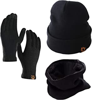 ANJUREN Hat Beanie Gloves Scarf Set 3pcs Unisex Adult Winter Cable Snow Knitted Cap Scarves Touch Glove Mittens