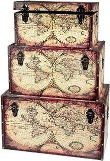 IH CASADECOR STORAGE TRUNK (Ex PEDITION MAP) (SET OF 3) chests, 25x16x14, multi