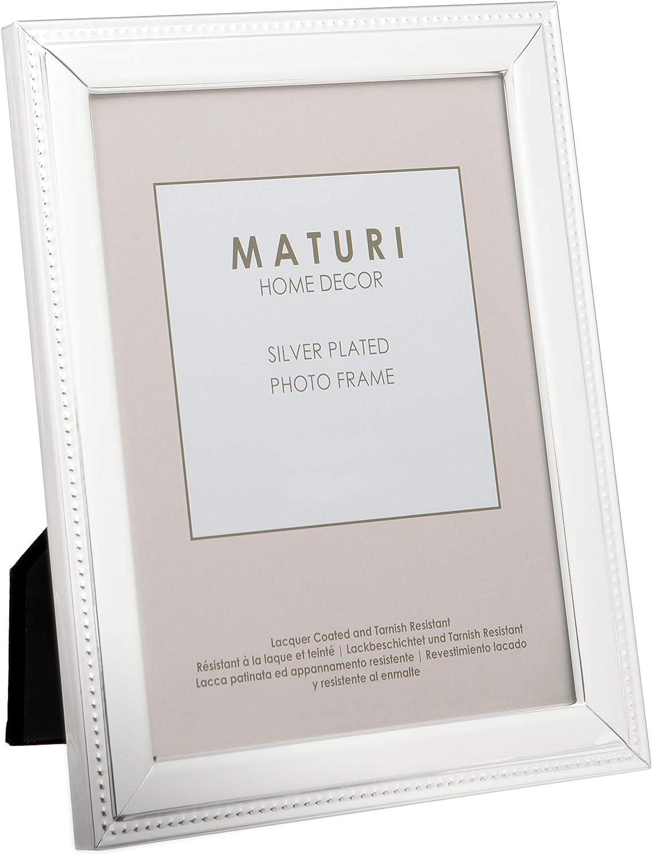 Unity Viceni - Marco para fotos con detalle de cadeneta en relieve, bañado en plata (20 x 25 cm)