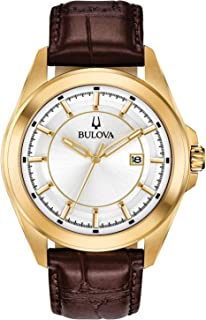 Bulova Classic Quartz Calendar Mens Watch, Stainless Steel with Brown Leather Strap, Gold-Tone (Model: 97B185)