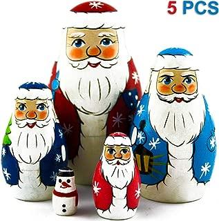 MATRYOSHKA&HANDICRAFT Nesting Dolls Father Frost Set 5 pcs - Russian Santa Claus Toys - Ded Moroz Toy