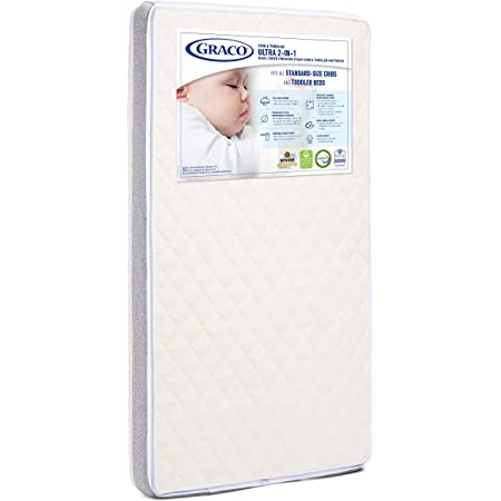 Graco Ultra Dual-Sided Premium Crib and Toddler Mattress – 2 Sides for Baby and Toddler, CertiPUR-US, GREENGUARD, JPMA Certified Crib, Water-Resistant, Machine-Washable Cover,White,Crib