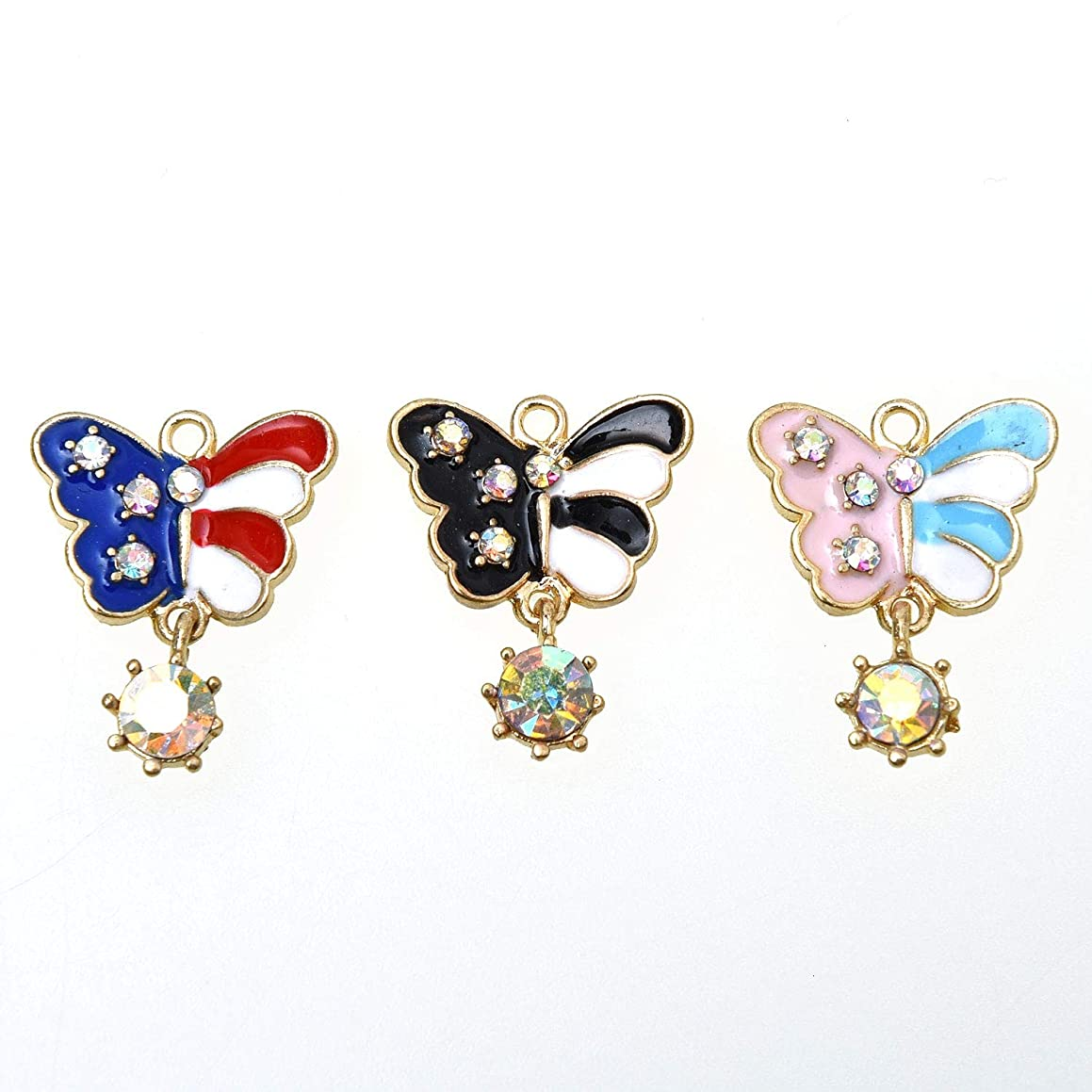 Monrocco 30 Pcs Enamel Butterfly Charm Pendants with Crystal for Crafting Jewelry Making Necklace