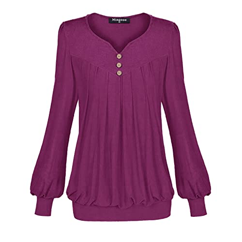 d774135c22315 Miagooo Women s Long Sleeve Henley V Neck Pleated Front Fitted Banded Hem  Blouse