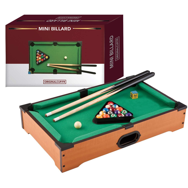 Original Cup - Mini Mesa de Billar, Juego Completo, 1 x Mesa + 2 x Tacos + 16 x Bolas + 1 x Estante + 1 x Tiza Azul: Amazon.es: Juguetes y juegos